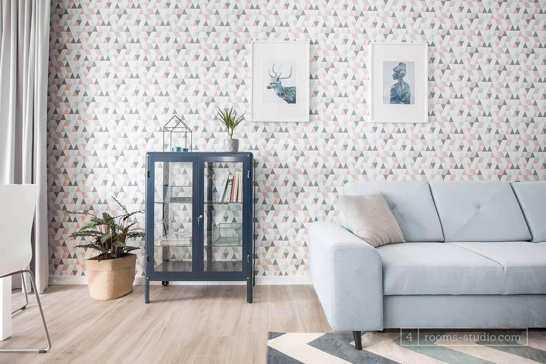 Tapeta geometryczna w salonie