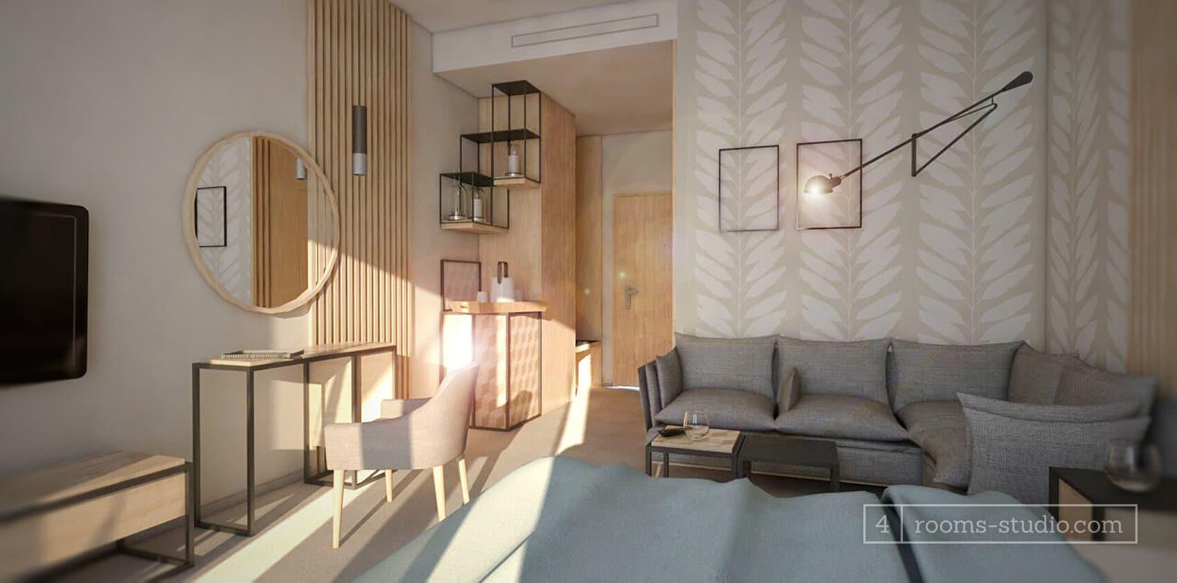 Pokój hotelowy w stylu skandynawskim