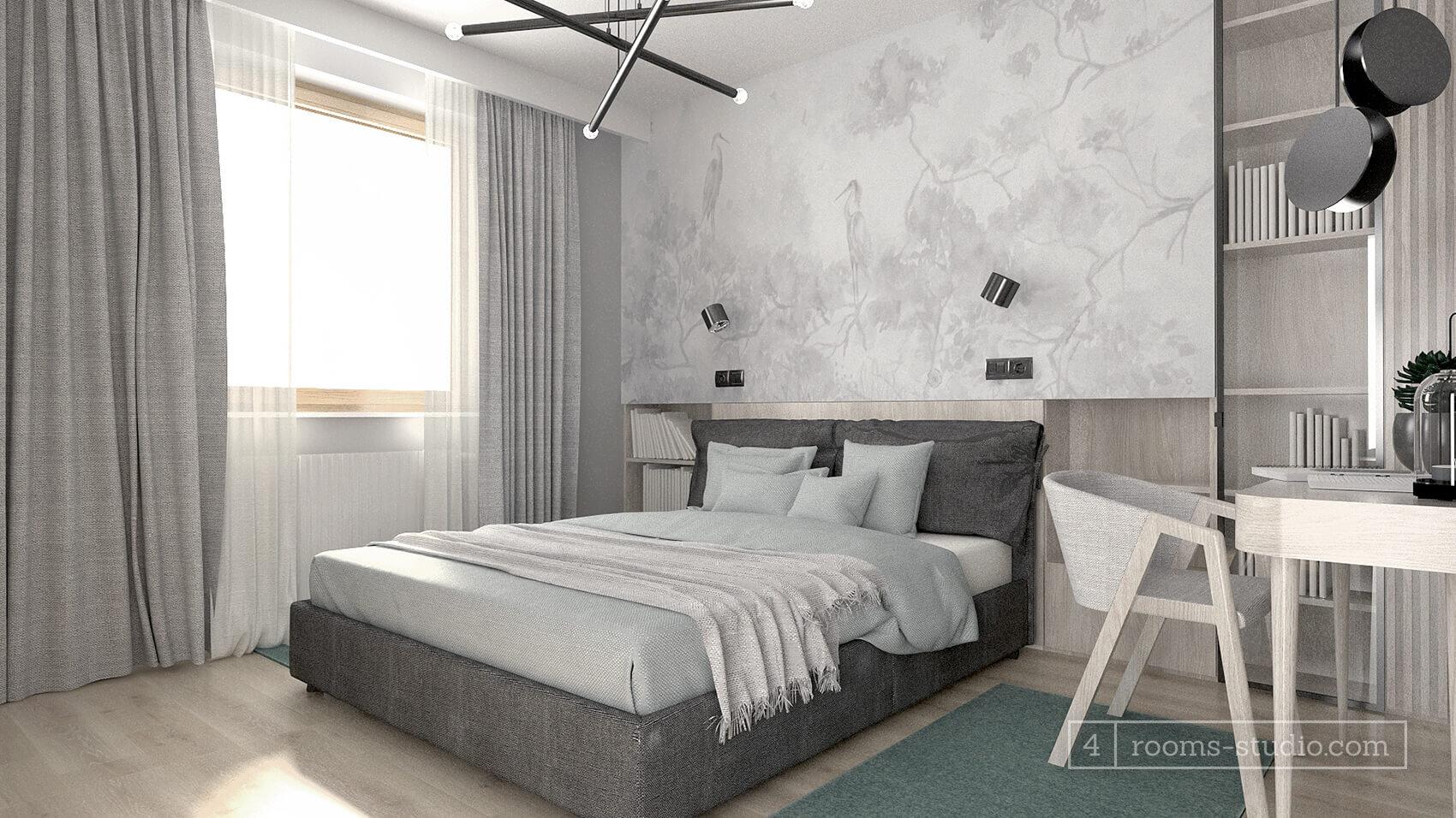 Szare tapicerowane łóżko